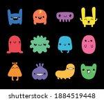 doodle monster set. colorful...