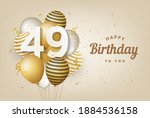 happy 49th birthday with gold... | Shutterstock . vector #1884536158