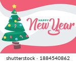 happy new year. illustrated... | Shutterstock .eps vector #1884540862