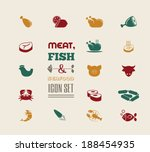 meat icon set | Shutterstock .eps vector #188454935