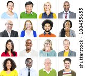 portrait of multiethnic... | Shutterstock . vector #188455655