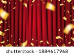 curtain red with gold confetti. ... | Shutterstock .eps vector #1884617968