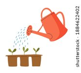 vector red watering can... | Shutterstock .eps vector #1884622402