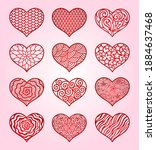 hearts. valentine's day. vector ... | Shutterstock .eps vector #1884637468