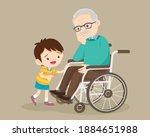 elderly are sad  the child... | Shutterstock .eps vector #1884651988