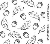 acorns set  background pattern. ... | Shutterstock .eps vector #1884669622