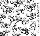 acorns pattern background.... | Shutterstock .eps vector #1884669628