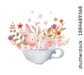 card with two watercolor... | Shutterstock . vector #1884689368