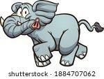 happy  fat gray cartoon... | Shutterstock .eps vector #1884707062