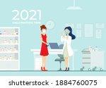 flu shot for a young girl ... | Shutterstock .eps vector #1884760075