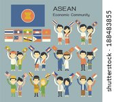 asean people in traditional... | Shutterstock .eps vector #188483855