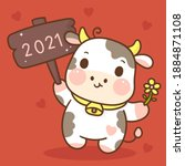 zodiac of ox cartoon with label ... | Shutterstock .eps vector #1884871108