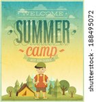 summer camp poster. vector... | Shutterstock .eps vector #188495072