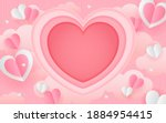 valentine's day paper art... | Shutterstock .eps vector #1884954415