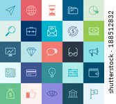Vector collection of simple thin business and finance icons.