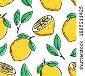lemon seamless pattern with...   Shutterstock .eps vector #1885211425