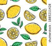 seamless pattern of lemon with...   Shutterstock .eps vector #1885211428