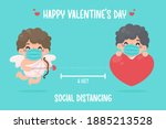 cupid held a bow and pointed an ... | Shutterstock .eps vector #1885213528
