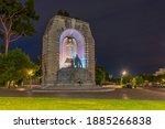 Night view of national war memorial in Adelaide, Australia