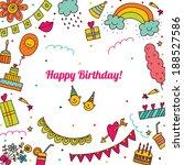 cute postcard. happy birthday. | Shutterstock .eps vector #188527586