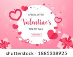 round frame with pink heart... | Shutterstock .eps vector #1885338925