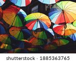 Striped Multi Colored Umbrellas ...