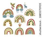christmas rainbow vector trendy ... | Shutterstock .eps vector #1885370935