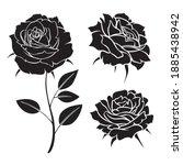roses silhouette vector. art...   Shutterstock .eps vector #1885438942