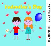 valentine's day. the boy and... | Shutterstock .eps vector #1885463362
