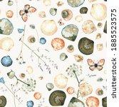 Seashells Seamless Watercolor...