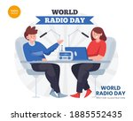 world radio day concept vector...