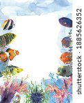 colorful exotic tropical fishes ... | Shutterstock . vector #1885626352
