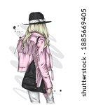 beautiful girl in a stylish...   Shutterstock .eps vector #1885669405