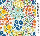 cute floral seamless pattern...   Shutterstock .eps vector #1885723258