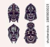 Set Of Skull Wearing Helmet ...