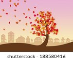 maple tree in autumn with city... | Shutterstock . vector #188580416