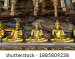 Buddha Statues Lined Up At Wat...