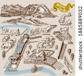 medieval map elements engraving ... | Shutterstock .eps vector #1885889032