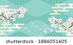 cherry tree japanese pattern... | Shutterstock .eps vector #1886051605