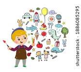 vector illustration cartoon of... | Shutterstock .eps vector #1886085295