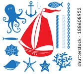 anchor,art,background,banner,blue,boat,cartoon,chain,collection,coral,cruise,decoration,design,doodle,drawing