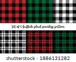 vector set of buffalo plaid... | Shutterstock .eps vector #1886131282