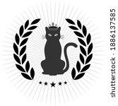 emblem cat in a laurel wreath... | Shutterstock .eps vector #1886137585
