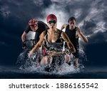 Triathlon Sport Collage. Man ...