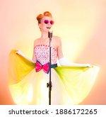 Girl Or Woman Singer Singing...