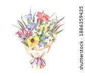 watercolor floral bouquet with... | Shutterstock . vector #1886359435