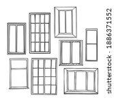 hand drawn windows on white...   Shutterstock .eps vector #1886371552