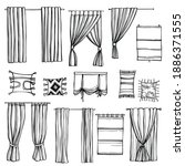 hand drawn curtains for windows....   Shutterstock .eps vector #1886371555