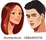vector portraits of the heads... | Shutterstock .eps vector #1886405278