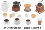 coffee icons isometric vector... | Shutterstock .eps vector #1886430955